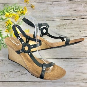 Reaction • Kenneth Cole Black Strappy Wedge Heels